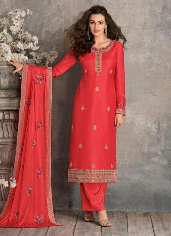 Pink Tussar Silk Party Wear Heavy Embroidery Work Palazzo Suit