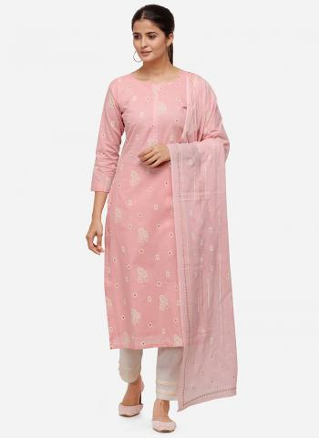 Pink Khadi Cotton Casual Wear Hand Work Straight Suit