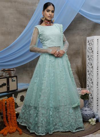 Mint Green Net Wedding Wear Thread Work Gown