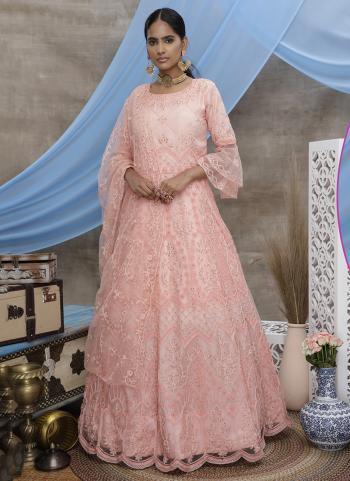 Peach Net Wedding Wear Thread Work Gown