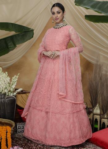 Pink Net Wedding Wear Thread Work Gown