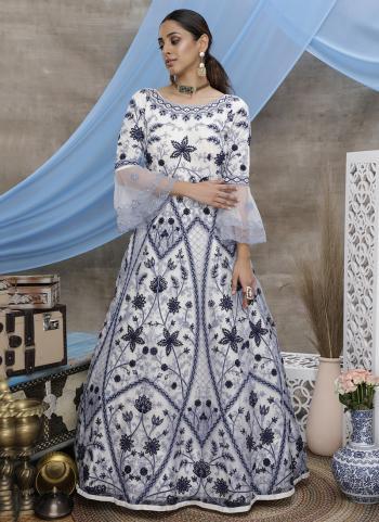 White Net Wedding Wear Thread Work Gown