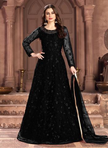 Black Net  Wedding Wear Sequins Work Anarkali Suit