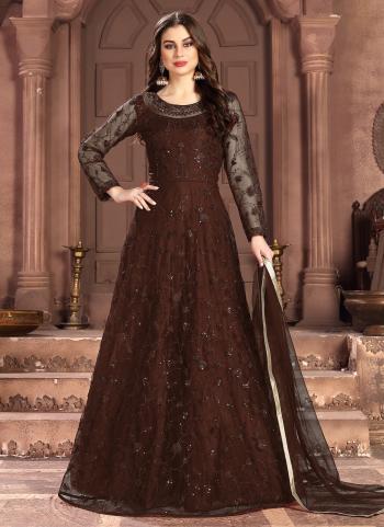 Brown Net  Wedding Wear Sequins Work Anarkali Suit