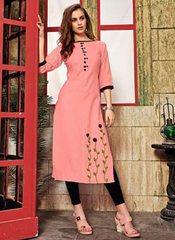 Light Pink Cotton Daily Wear Hand Work Kurti