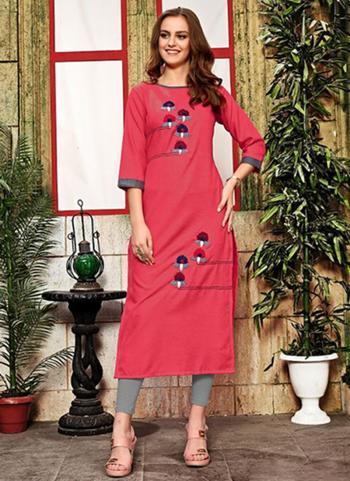 Pink Cotton Daily Wear Hand Work Kurti