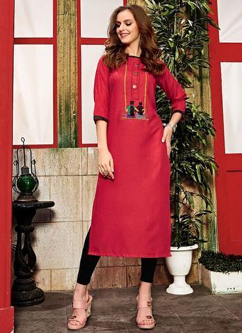 Red Cotton Daily Wear Hand Work Kurti