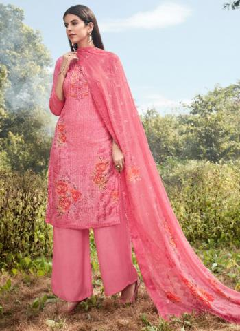 Pink Muslin Silk Traditional Wear Sequins Work Palazzo Suit