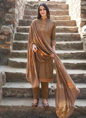 Brown Muslin Festival Wear Embroidery Straight Suit
