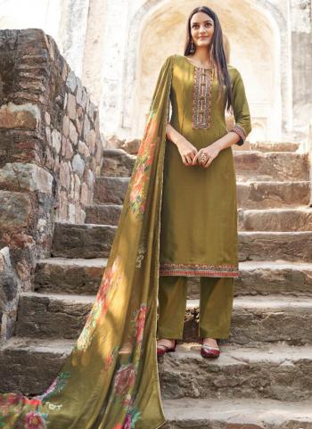 Olive Green Muslin Silk Festival Wear Embroidery Work Straight Suit