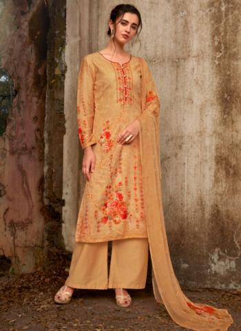Beige Pure Cotton Casual Wear Embroidery Work Palazzo Suit