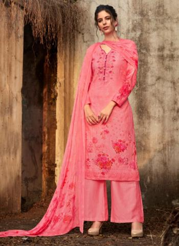 Pink Pure Cotton Casual Wear Embroidery Work Palazzo Suit