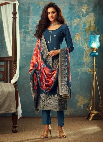 Blue Dola Jacquard Wedding Wear Embroidery Work Straight Suit