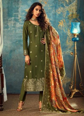 Green Dola Jacquard Wedding Wear Embroidery Work Straight Suit