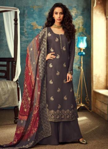 Grey Dola Jacquard Wedding Wear Embroidery Work Palazzo Suit
