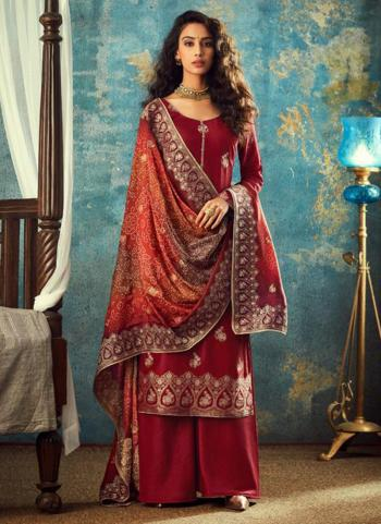 Red Dola Jacquard Wedding Wear Embroidery Work Palazzo Suit