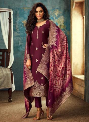 Wine Dola Jacquard Wedding Wear Embroidery Work Straight Suit