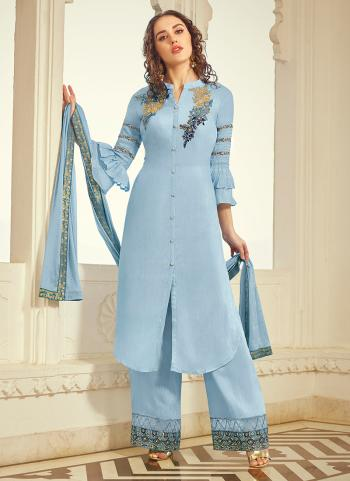 Blue Muslin Party Wear Embroidery Work Palazzo Suit