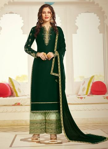 Green Satin Party Wear Embroidery Work Palazzo Suit