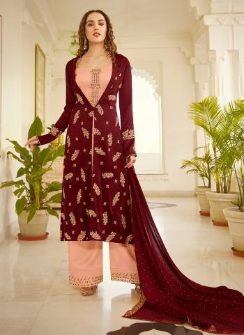 Maroon Silk Party Wear Embroidery Work Palazzo Suit