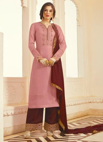 Pink Tussar Silk Party Wear Embroidery Work Palazzo Suit
