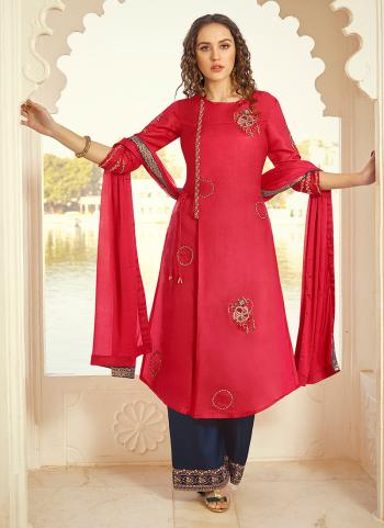Red Tussar Silk Party Wear Embroidery Work Palazzo Suit