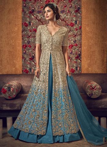 Beige And Sky Blue Net Bridal Wear Embroidery Work Anarkali Suit