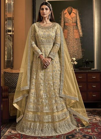 Beige Net Bridal Wear Embroidery Work Anarkali Suit