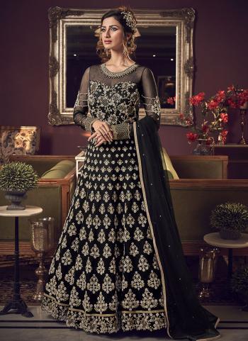 Black Net Bridal Wear Embroidery Work Anarkali Suit