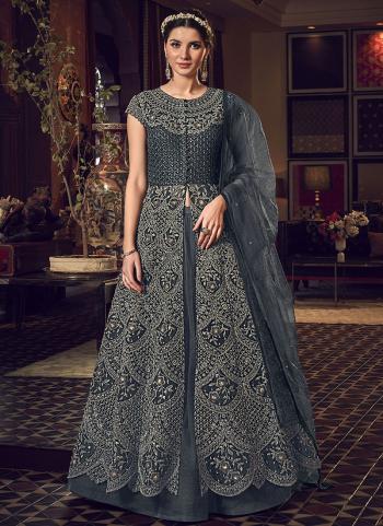 Dark Grey Net Bridal Wear Embroidery Work Anarkali Suit