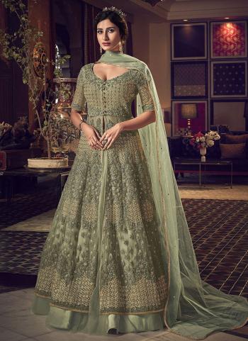Green Net Bridal Wear Embroidery Work Anarkali Suit