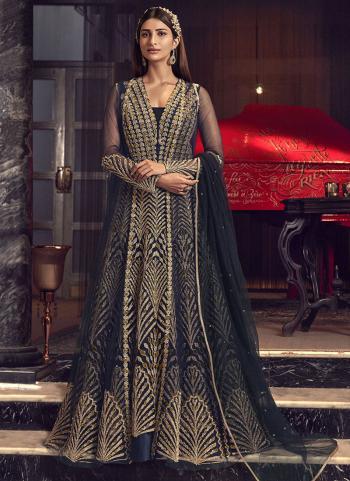 Navy Blue Net Bridal Wear Embroidery Work Anarkali Suit