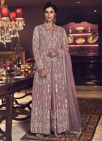 Pink Net Bridal Wear Embroidery Work Anarkali Suit