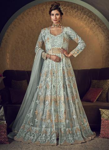 Sky Blue Net Bridal Wear Embroidery Work Anarkali Suit