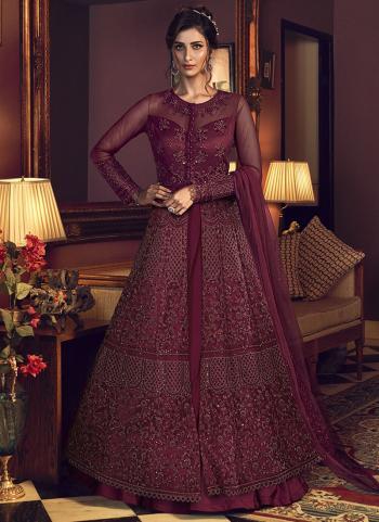 Wine Net Bridal Wear Embroidery Work Anarkali Suit