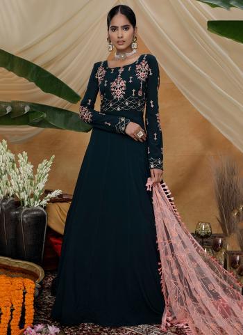 Dark Green Georgette Festival Wear Thread Work Anarkali Suit