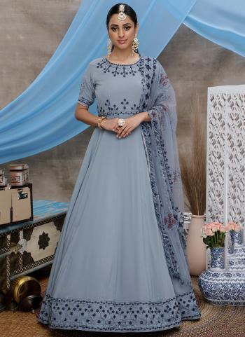 Grey Georgette Festival Wear Thread Work Anarkali Suit