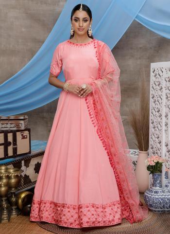 Pink Silk Festival Wear Thread Work Anarkali Suit