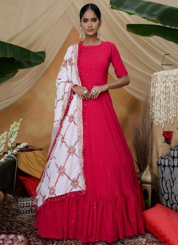 Rani Georgette Festival Wear Diamond Work Anarkali Suit