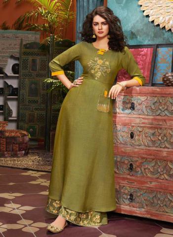 Olive Green Cotton Slub Festival Wear Embroidery Work Kurti With Bottom