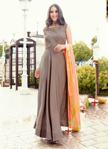 Brown Tapeta Silk Party Wear Embroidery Work Gown With Dupatta