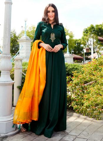 Green Tapeta Silk Party Wear Embroidery Work Gown With Dupatta