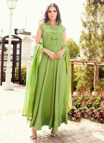Light Green Tapeta Silk Party Wear Embroidery Work Gown With Dupatta