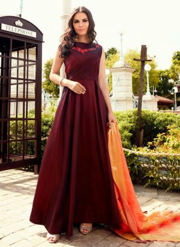Maroon Tapeta Silk Party Wear Embroidery Work Gown With Dupatta