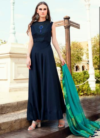 Navy Blue Tapeta Silk Party Wear Embroidery Work Gown With Dupatta