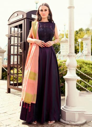 Purple Tapeta Silk Party Wear Embroidery Work Gown With Dupatta