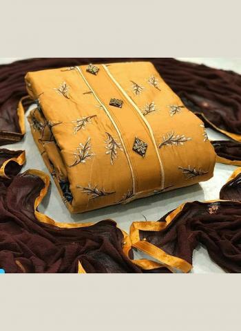 Yellow Chanderi Regular Wear Moti Work Salwar Suit