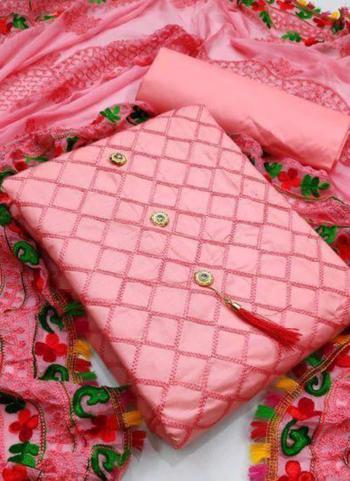 Pink Chanderi Party Wear Fancy Salwar Suit