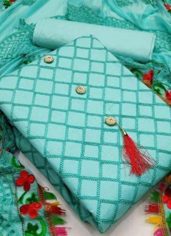 Sky Blue Chanderi Party Wear Fancy Salwar Suit