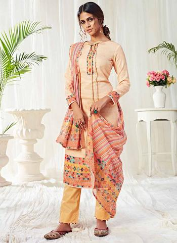 Cream Cotton Festival Wear Swarovski Work Straight Suit
